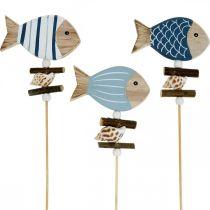Maritime dekorplugger, fisk og skjell på pinnen, marine dekorasjoner, trefisk 6stk