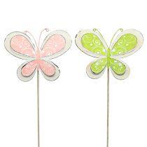 Metallplugg sommerfuglgrønn, rosa 52cm 2stk