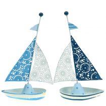 Dekorativ seilbåt laget av metallblå, hvit 12,5cm x 20,5cm 2stk
