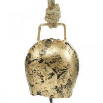 Klokker å henge, mini cowbells, country house, metal bells golden, antique look 7 × 5cm 12pcs