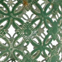 Metallkurv oval med håndtak 25cm x 16,5cm H21cm grønn