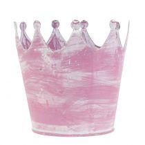 Metallkrone rosa hvitvasket Ø10cm H9cm 6stk