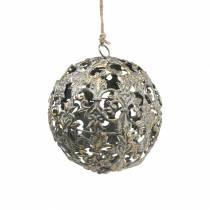 Ball å henge med ornamenter antikk utseende gyllen metall Ø12cm