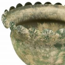 Dekorativ kopp, antikk utseende, metall, mosegrønn, Ø13cm, H14,5cm