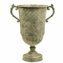 Dekorativ kopp med diamantmønster, antikt utseende, metall, mosegrønn, Ø24,5cm H45cm