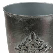 Dekorativ metallbeker med ornament sølvgrå Ø16,5cm H31cm
