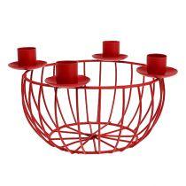 Metallskål med 4 lysestaker rød Ø22cm