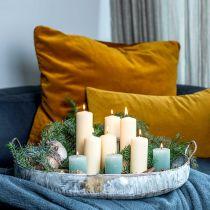 Metallskål med håndtak, planter, dekorativt brett, antikt utseende, hvitvasket L51 / 40,5 cm, sett med 2