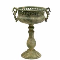 Dekorativ kopp, antikk utseende, metall, mosegrønn, Ø19cm H35,5cm