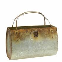 Plantepose metall grå / rust H16cm