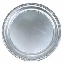 Dekorativ plate metall sølvblank Ø36cm H3cm