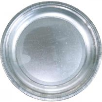 Dekorplate, oppstillingsunderlag, metallplate sølv, borddekorasjon Ø26cm