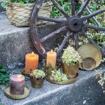 Metallplate til pynt, borddekorasjoner, lysbrett rundt gyldent antikt utseende Ø7,5 / 10/12/15 / 18cm H2cm sett med 5