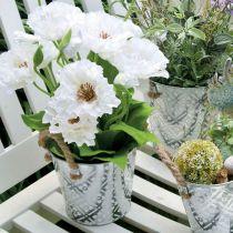Metallgryte for planting, blomsterpotte med håndtak, planter med blomstermønster Ø18cm