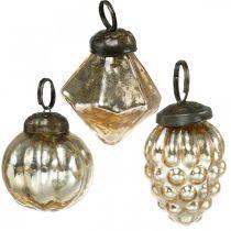 Mini trekuler, diamant / ball / kjegle, trehengninger bland antikt utseende Ø3–3,5cm H4,5–5,5cm 9stk