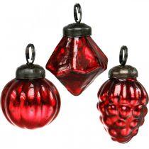 Mini-tre dekorasjonsblanding, diamant / ball / kjegle, glasskuler antikk utseende Ø3–3,5cm H4,5–5,5cm 9stk