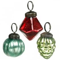 Mini juletrekuleblanding, diamant / ball / kjegle, glasskuler antikk utseende Ø3–3,5cm H4,5–5,5cm 9stk