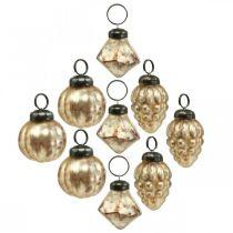 Mini glasskuleblanding, diamant / ball / kjegle, trepynt, antikk utseende Ø3–3,5cm H4,5–5,5cm 9stk