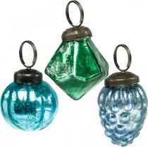 Mini glasskuleblanding, diamant / ball / kjegle, juletrepynt antikk utseende Ø3–3,5cm H4,5–5,5cm 9stk
