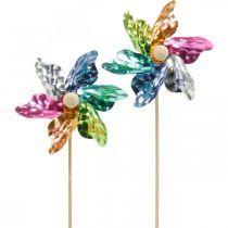 Mini-pinwheel, festdekorasjon, vindmølle på stangen fargerik, dekor til hagen, blomsterplugg Ø8,5cm 12stk.
