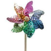Vindmølle, sommerdekorasjon, hjul på stangen farget, dekor til barnebursdagsselskap Ø16cm 4stk