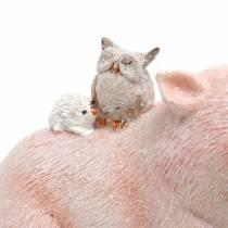 Dekorativ figur sett piggy med dyrevenner 9,3cm × 7,5 / 8,5cm 2stk