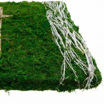 Moseblader og kors for gravplassering grønn, hvit 40 × 30cm