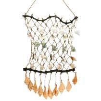 Dekorativt nett for henging med skjell, naturlig 25 × 45cm