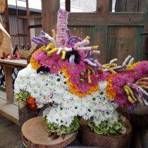 Enhjørning med blomsterskum 68cm x 60cm