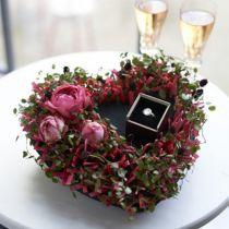 Blomsterskum hjerte sort 17cm 2 stk bryllupsdekorasjon