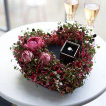 Blomsterskum hjerte sort 25,5cm 2stk
