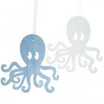 Blekksprut å henge blå, hvit tre blekksprut Maritim sommerdekorasjon 8stk