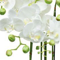 Kunstige orkideer i en gryte hvit kunstig plante 63cm