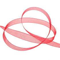 Organzabånd med kant 1,5cm 50m rødt