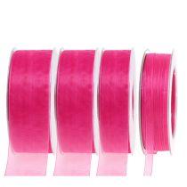 Organzabånd med kant 50m rosa
