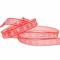 Organzabånd med snøfnugg rød 10mm 20m