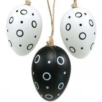 Påskeegg med ringer og prikker, vårdekorasjon, monokrom påskedekorasjon 6stk