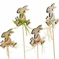 Påskehare med blomst, kanindekorasjon til påske, kanin på pinne, vår, trepynt blomsterplugg 12stk