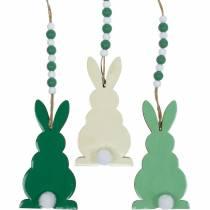 Påskekaniner å henge, vårdekorasjoner, anheng, dekorative kaniner grønn, hvit 3stk