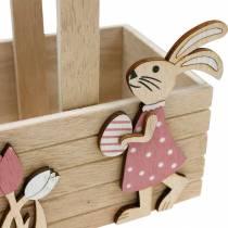 Påskekurv med kaniner Påskedekorasjon for hengende påskekurv vårdekorasjon 2stk