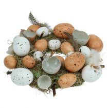 Påskekrans med egg Ø24cm naturlig, hvit