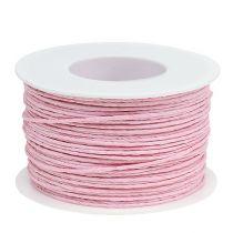 Papiersnor innpakket i wire Ø2mm 100m rosa