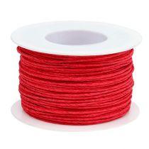 Papirledning ledet inn i tråd Ø2mm 100m rødt