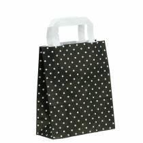Papirpose svart med prikker 22cm x 10cm x 31cm 25stk