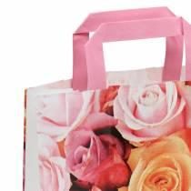 Papirpose rose 22cm x 10cm x 28cm 25stk
