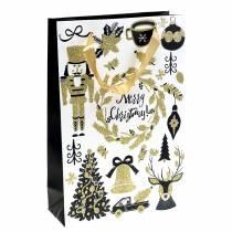 "Gavepose papirpose ""God jul"" gullglitter H30cm 2stk"
