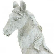 Hestehode byste deco-figur hest keramisk hvit, grå H31cm