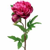 Peon kunstig blomst med blomst og knopp lilla magenta 68cm