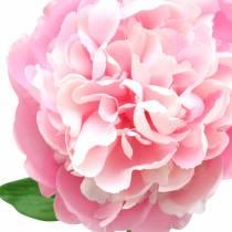 Peon kunstig blomst med blomst og knopprosa 68cm