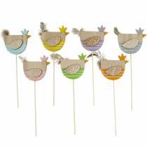 Planteplugg kylling fargerik dekorasjonsplugg trehøne påskedekorasjon 14stk